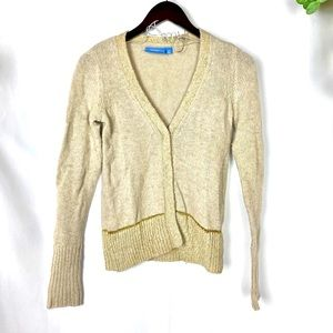 Vera Wang wool blend sweater button up gold Sz XS